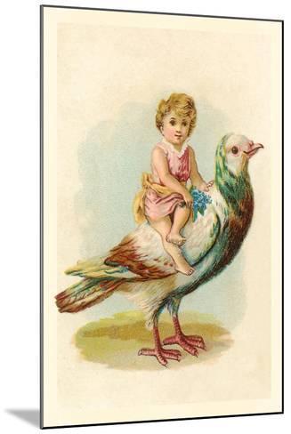 Child Riding Large Bird--Mounted Art Print
