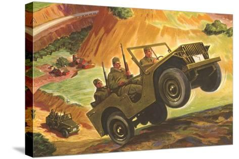 Soldiers in Jeeps--Stretched Canvas Print