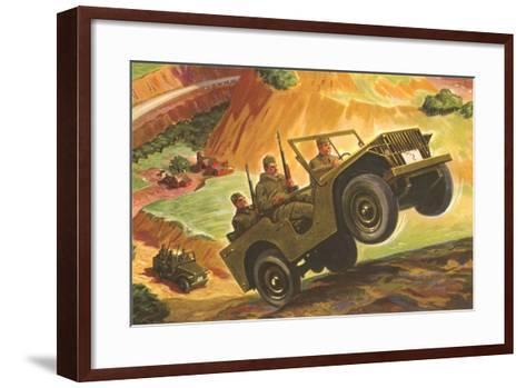 Soldiers in Jeeps--Framed Art Print