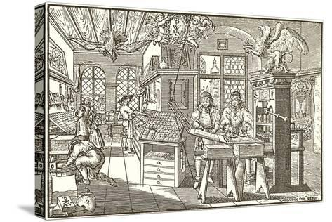Woodcut of Old Print Shop--Stretched Canvas Print