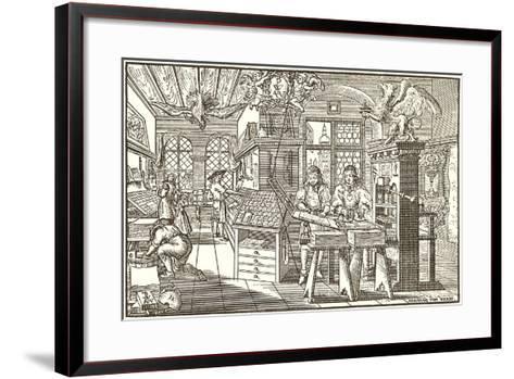 Woodcut of Old Print Shop--Framed Art Print