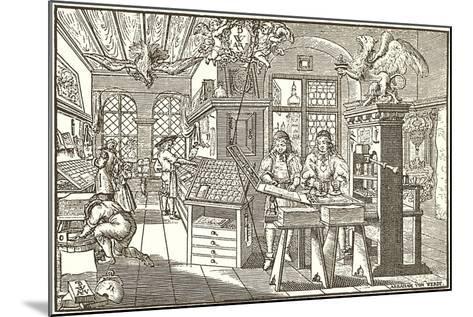 Woodcut of Old Print Shop--Mounted Art Print