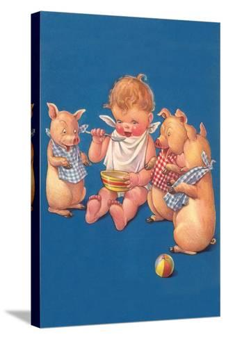 Baby with Pigs Eating Cereal--Stretched Canvas Print
