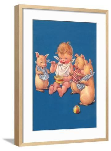 Baby with Pigs Eating Cereal--Framed Art Print
