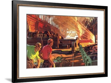 Workers in Steel Mill--Framed Art Print
