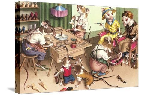 Mice in Cobblers Shop--Stretched Canvas Print
