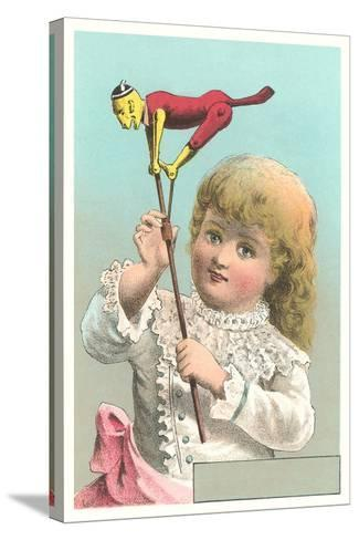 Victorian Girl with Puppet--Stretched Canvas Print