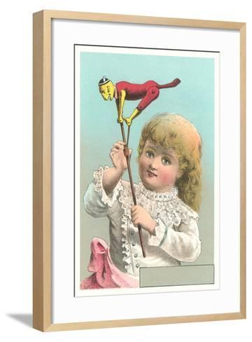 Victorian Girl with Puppet--Framed Art Print