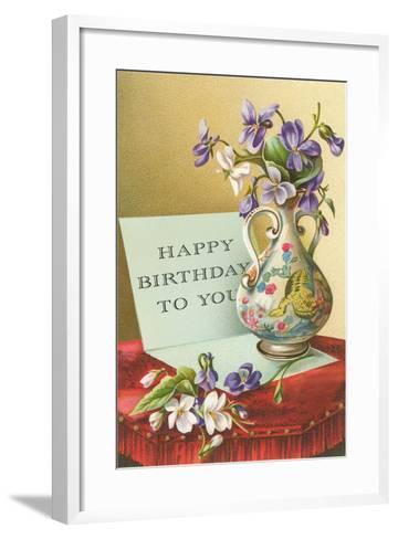 Vase with Violets--Framed Art Print