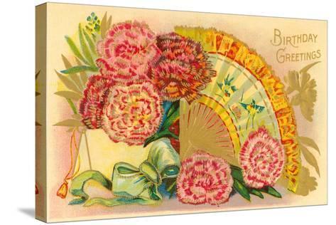 Vintage Birthday Greetings--Stretched Canvas Print