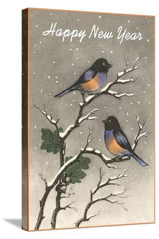 Birds in Snow--Stretched Canvas Print