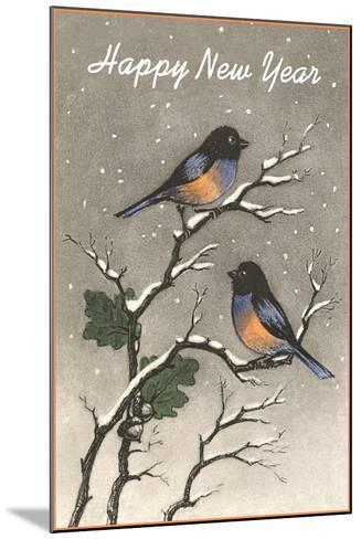 Birds in Snow--Mounted Art Print