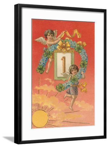 Cherubs Unveil January First--Framed Art Print