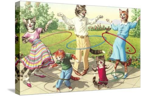 Cat Family with Hula Hoops--Stretched Canvas Print