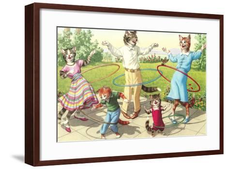 Cat Family with Hula Hoops--Framed Art Print