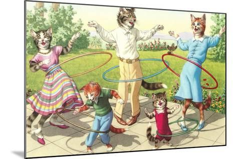 Cat Family with Hula Hoops--Mounted Art Print