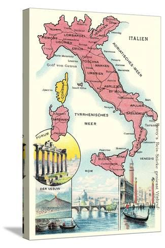 Map of Italy--Stretched Canvas Print