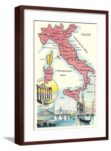 Map of Italy--Framed Art Print