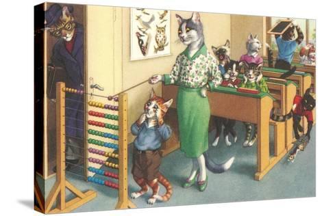 Crazy Cats at School--Stretched Canvas Print