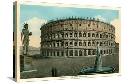 Rome, Italy, Rendering of Restored Coliseum--Stretched Canvas Print