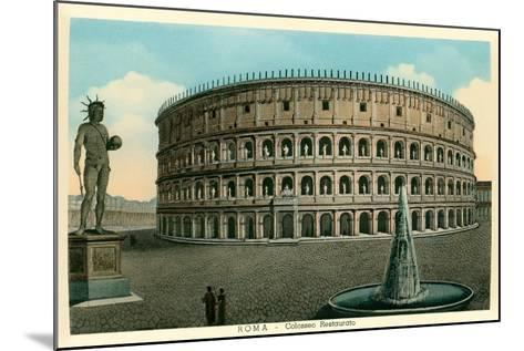 Rome, Italy, Rendering of Restored Coliseum--Mounted Art Print