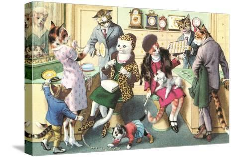 Crazy Cats at the Jewelry Store--Stretched Canvas Print