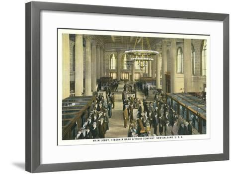 Lobby, Hibernia Bank and Trust, New Orleans--Framed Art Print
