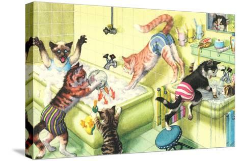 Crazy Cats in Bathtub--Stretched Canvas Print