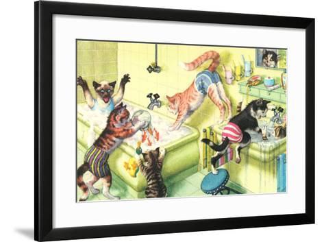 Crazy Cats in Bathtub--Framed Art Print