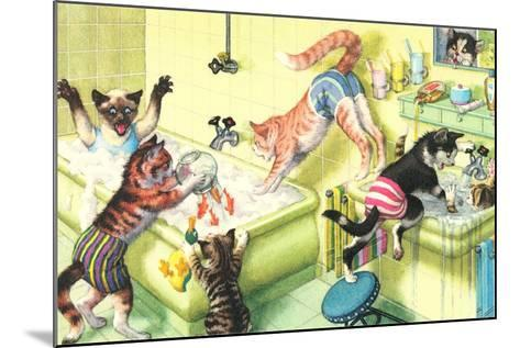 Crazy Cats in Bathtub--Mounted Art Print