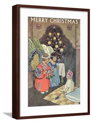 Child Angels Visiting Infant--Framed Art Print
