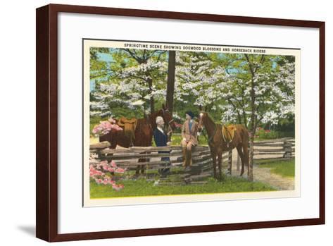 Dogwood Blossoms, Horses--Framed Art Print
