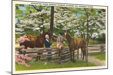 Dogwood Blossoms, Horses--Mounted Art Print