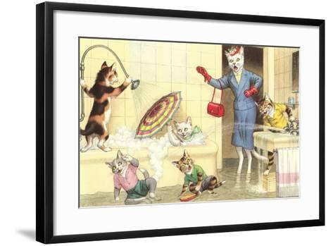 Crazy Cats in the Bathtub--Framed Art Print
