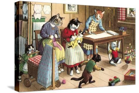 Homeschooling Crazy Cats--Stretched Canvas Print