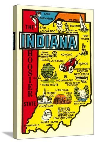 Indiana Map Decal--Stretched Canvas Print
