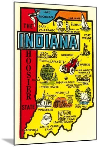 Indiana Map Decal--Mounted Art Print