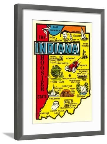 Indiana Map Decal--Framed Art Print