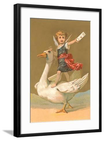 Child with Letter on Goose--Framed Art Print