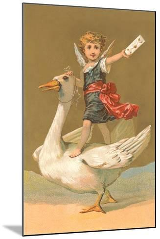 Child with Letter on Goose--Mounted Art Print
