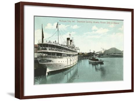 Steamboat Landing, Michigan City--Framed Art Print