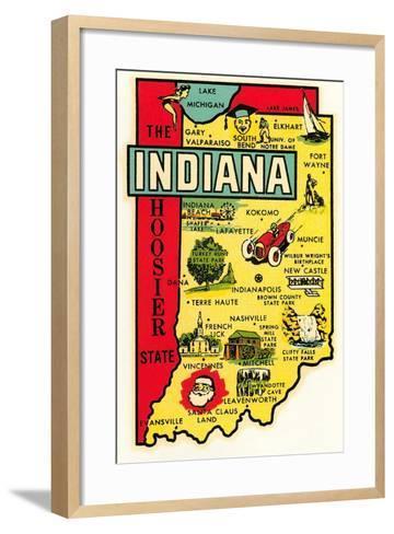 The Hoosier State Map--Framed Art Print