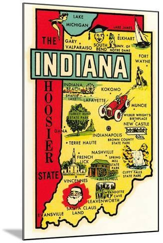 The Hoosier State Map--Mounted Art Print