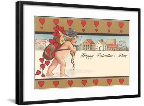 Cherub Mail Carrier Toting Valentines--Framed Art Print