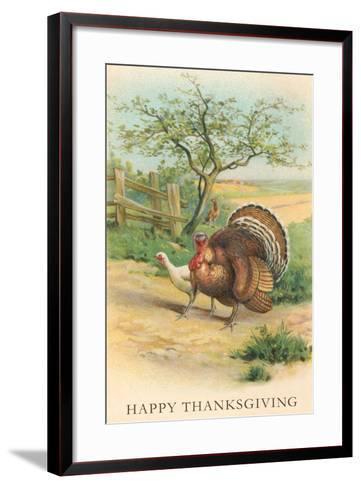 Tom and Hen Turkeys--Framed Art Print