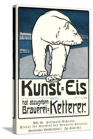 Polar Bear, Art Is Ice--Stretched Canvas Print
