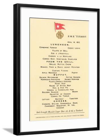 Lunch Menu on the Titanic--Framed Art Print