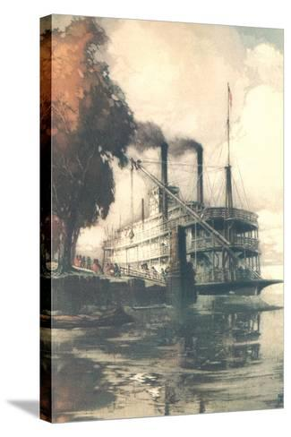 Steamboat at Dock--Stretched Canvas Print