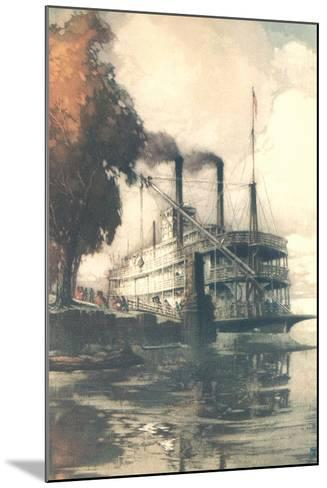 Steamboat at Dock--Mounted Art Print