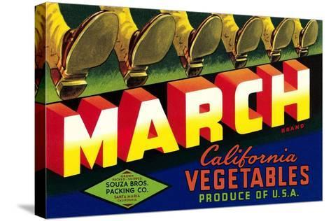 Crate Label for March Vegetables--Stretched Canvas Print